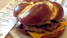 Pretzel bun at Hole in the Wall Burger Joint
