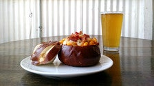 Baked Mac n Cheese in a pretzel bowl at The Pub at Golden Road